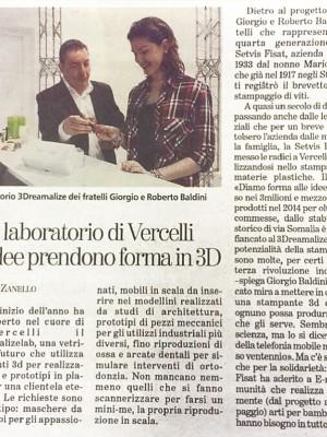 """La Stampa"", apertura Lab 3D a Vercelli"