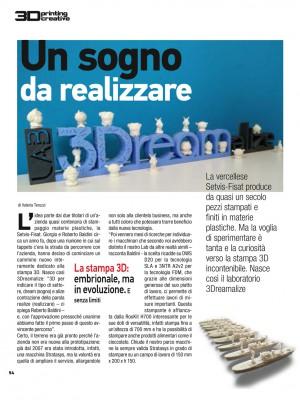 Un articolo dedicato da 3D Printing Creative sul numero di novembre alla 3Dreamalize di Vercelli